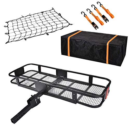 USSerenaY Hitch Mount Cargo Carrier - Hitch Cargo Carrier with Net, Waterproof Cargo Bag and 2 Reinforced Straps - Folding Car Basket Tralier Luggage Hitch Carrier L60' X W20' X H6', 550lbs