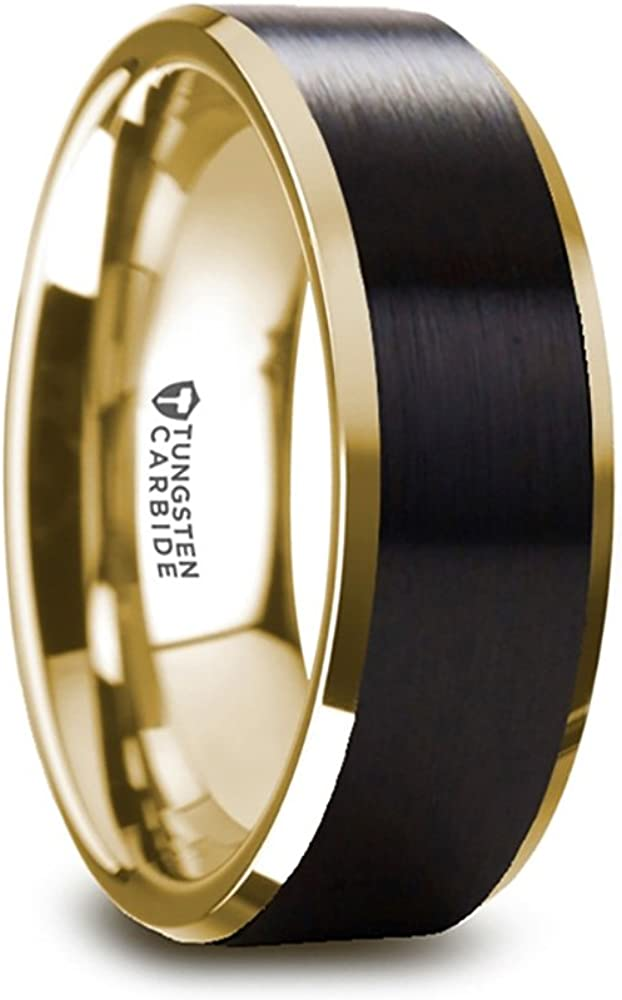 Thorsten Gaston | Tungsten Rings for Men | Tungsten | Comfort Fit | Custom Engraving | Gold Plated Tungsten Wedding Ring Band with Flat Black Matte Brushed Inlay - 8mm