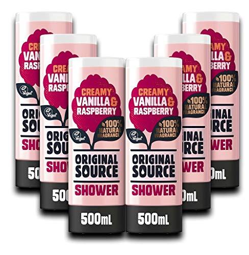 Original Source Ducha de vainilla y frambuesa 500 ml (Paquete de 6)