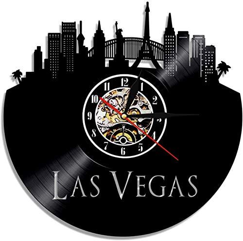 ZYBBYW Las Vegas Stadt Wanduhr Retro Vinyl Schallplatte Wüste Großstadt Skyline Wanduhr Kunst Reisen Geschenk-No_Leadership