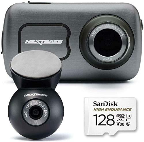 Nextbase 622GW Dash Cam anteriore e posteriore fotocamera con scheda SD classe 10 U3 128gb - Full 4K/30fps UHD in auto registrazione- WIFI Bluetooth GPS -Super Slow Motion 120fps- Alexa Built-in
