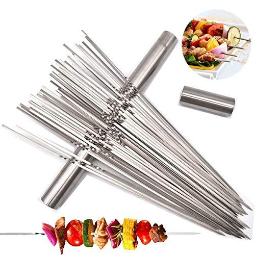 Liwein Pinchos de Barbacoa, 50 Piezas Parrilla Pinchos Acero Inoxidable Brochetas de Kebab con Tubo de Almacenamiento Metal Planas Barbacoa Pinchos Asar para BBQ Carne Aperitivos de Fiesta 35cm