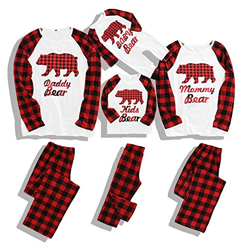 Matching Family Christmas Pajamas Cotton Pjs Set Sleepwears Xmas Jammies Bear Kids Pajamas for Boys and Girls 4-5T
