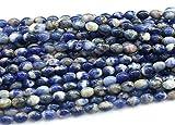 LKBEADS 1 hebra natural de sodalita azul piedra de encaje forma de arroz suelta pequeñas cuentas ovaladas 6 x 8 mm de largo 03813 Code-HIGH-30349