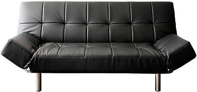 アイリスプラザ ソファベッド2人 リクライニングソファ (背もたれ3段階/座面6段階) ブラック レザー 幅183㎝ RSBP-1810 2.5人掛け