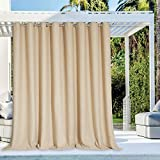 NICETOWN Outdoor Privacy Curtain for Patio Waterproof, Grommet Top Thermal Insulated Blackout Extra Wide and Long Door Blind for Sunroom / Pavilion / Gazebo, Tan, 1 Piece, 120' Wide by 108' Long