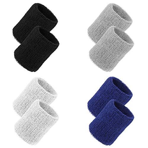 tiopeia 8 Packung Sport Wristbands, Baumwolle Schweißbänder Absorbierende Handgelenk Bands für Fußball, Basketball, Tennis, Gymnastik, Golf, Running