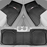 Motor Trend FlexTough Plus Black Rubber Car Floor Mats – All Weather Deep Dish Automotive Floor Mats, Heavy Duty Trim to Fit Design, Odorless Floor Mat Liners for Cars Truck Van SUV