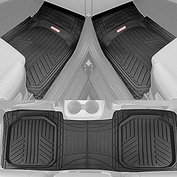 Motor Trend FlexTough Plus Black Rubber Car Floor Mats – All Weather Deep Dish Automotive Floor Mats Heavy Duty Trim to Fit Design Odorless Floor Mat Liners for Cars Truck Van SUV