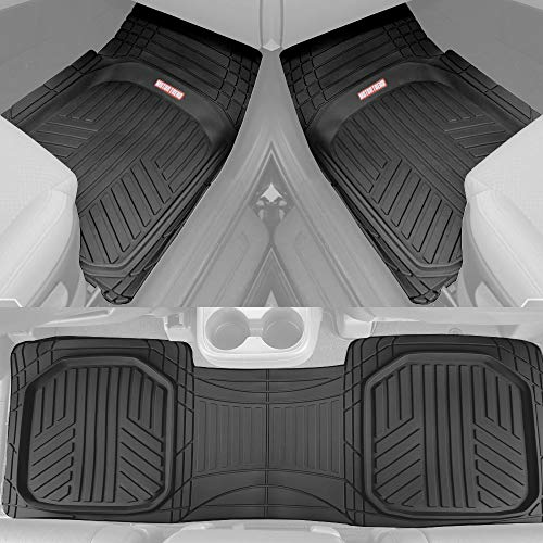 Motor Trend Black Deep Dish Rubber Floor Mats All-Climate All Weather Performance Plus Heavy Duty Liners Odorless (Black) (OF-933-BK)
