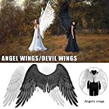 NUOBUGYB Halloween 3D Angel Devil Big Wing Carnival Party Performance Prop per Uomo Donna Nero