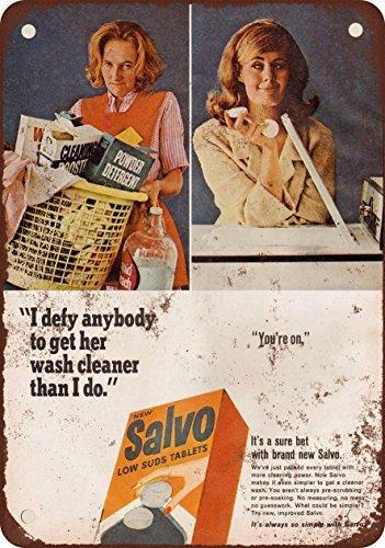 1965 Salvo wasmiddel Vintage look reproductie metalen blik teken 8X12 inch
