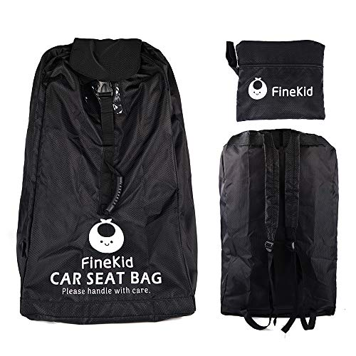 FINEKID Car Seat Travel Bag for Airplane-Padded Backpack for Car Seats-Bright to Catch When Getting from Baggage Claim(Black)