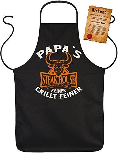 Geile-Fun-T-Shirts Grillschürze für Männer - Papas Steak-House - Kochschürze Küchenschürze Vatertagsgeschenk Schürze Männer Geschenke Set geil Bedruckt mit GRATIS Griller Urkunde