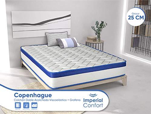 Imperial Confort Copenhague - Colchón Viscoelástico + Viscografeno acolchado - Doble cara (invierno/verano) - Grosor 25 cm - 105x190