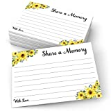 321Done Share a Memory Card (50 Cards) Sunflower Large, 4' x 6' for Celebration of Life Birthday Anniversary Memorial Funeral Graduation Bridal Shower Game - Made in USA - White