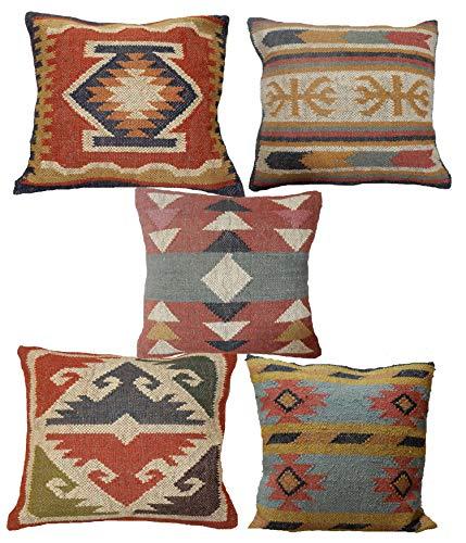 Handicraft Bazarr 5 fundas de cojín de yute indio, tejido a mano, estilo...