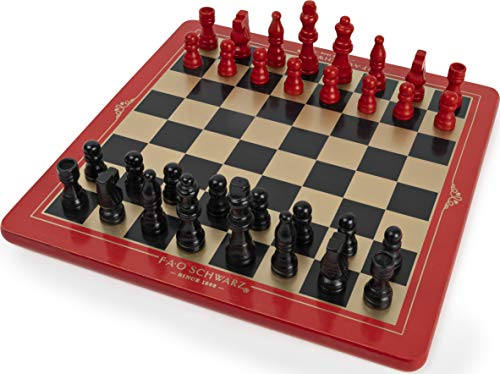 FAO Schwarz Wood Chess Checkers and Tic-Tac-Toe Set, Classic Strategy Games, for Adults and Kids Ages 6 and up