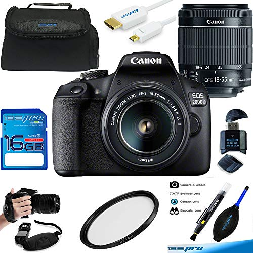 EOS 2000D (Rebel T7) Digital SLR Camera with 18-55mm is II Lens Kit (Black) - Advanced Accessories Bundle
