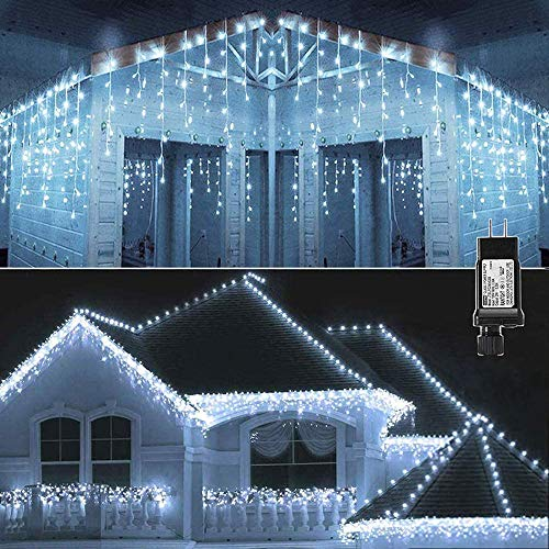 KNONEW LED Icicle Lights 400 LED 33ft 8 Lighting Modes Curtain Fairy Light with 72 Drops, Clear Wire String Light for Christmas Thanksgiving Wedding Party Indoor Outdoor Decorations (Cool White)