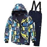 SXSHUN Combinaison de Ski/Neige Manteau et Salopettes Pantalons Epaisse Imperméable Coup Vent pour Enfant Fille Garçon 3-16 Ans, Bleu + Bleu foncé, 12-14 Ans/Stature 150-160cm