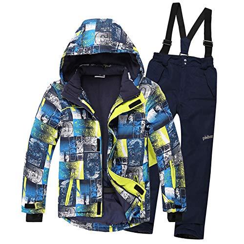 LPATTERN Kinder Jungen/Mädchen Skifahren Bekleidung 2 Teilig Schneeanzug Skianzug(Skijacke+ Skihose), Blau Gelb Jacke+ Dunkelblau Trägerhose, 116/122