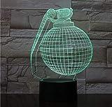 Iluminación infantil nocturna Forma de bomba Luz de noche 3D 7 colores Cambiar LED Lámpara de mesa de escritorio Hogar Niño Dormitorio Decoración para dormir Regalos de fiesta