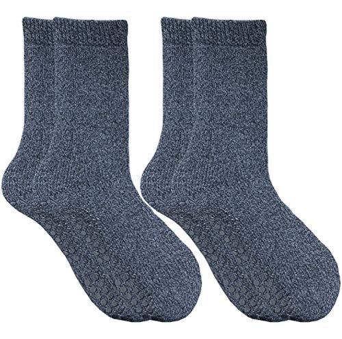 GAWILO 2 Paar Damen Stoppersocken – ABS Socken – Wollsocken – ohne drückende Naht – kuschelige Innenfrottee – ideal bei kalten Füßen (35-38, marine)