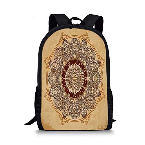 AOOEDM Backpack - Mochila Escolar Elegante con decoración del Zodiaco, círculo de Mandala Ornamental Vintage con Signos de horóscopo sobre Fondo de Papel Envejecido para niños, 11 'L x 5' W x 17 'H