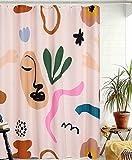 YoKii Aesthetic Terracotta Fabric Shower Curtain, Minimalist Abstract Modern Shapes Line Portrait Art Bathroom Shower Curtain Sets Vintage Cute Scandinavian Doodle Bath Curtains (Beige, 72 x 72)
