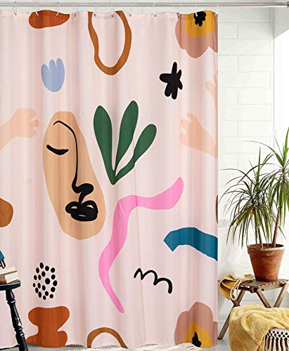 YoKii Aesthetic Terracotta Fabric Shower Curtain, Minimalist Abstract Modern Shapes Line Portrait Art Bathroom Shower Curtain Sets Vintage Cute Scandinavian Doodle Bath Curtains (Beige, 72 x 72)