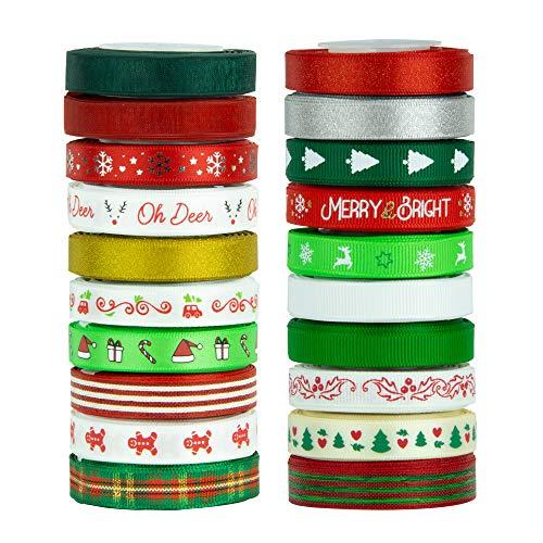 """VATIN 20 Rolls 110 Yards Christmas Ribbons Printed Grosgrain Ribbon Polyester Satin Ribbon Sheer Organze Ribbon 3/8"""" Wide Xmas Ribbon Set for Christmas Gift Box Wrapping,Sewing,Hair Banding,DIY Craft"""