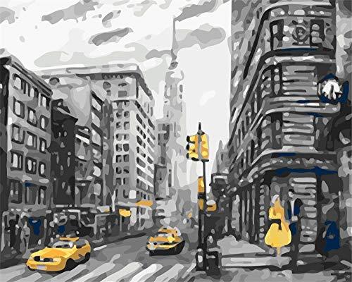 wgkgh DIY Pintura Por Números Para Adultos Pinturas Al Óleo Seniors Niños Lona Kits De Los Dibujo Lienzo Principiante Decoración De Casa Pinturas Regalo Para Taxi amarillo calle 40CMX50CM
