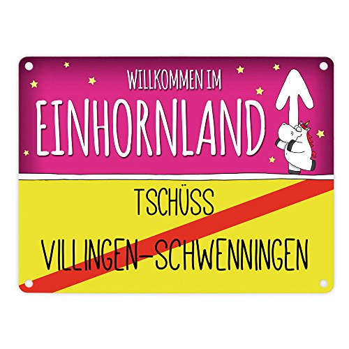 trendaffe - Willkommen im Einhornland - Tschüss Villingen-Schwenningen Einhorn Metallschild