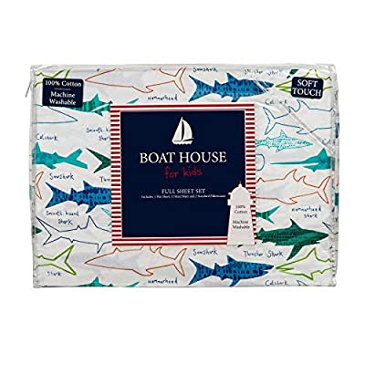Boat House Kids Bedding 4 Piece 100% Cotton Full Sheet Set Colorful Sharks and Names Different Types of Sharks