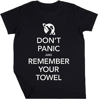 Dont Panic and Remember Your Towel Niño Niña Unisexo Negro Camiseta Manga Corta Kids Black T-Shirt