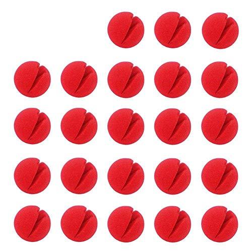 50 Stück Clown Nase Rote Nasen Schaumnase, Nasenset für Tag der roten Nase, Familienfest, Zirkus, Tanzparty, Rudolph Rentier Nase und Halloween (Rot)