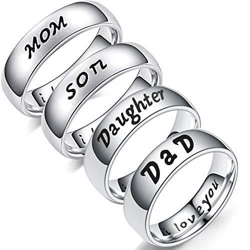 Saniswink-klassischer Damen-Fingerring mit einzigartigem Design, modischer englischsprachiger Aufschrift I Love You, für Sohn, Tochter, Sohn, Papa, Geschenk
