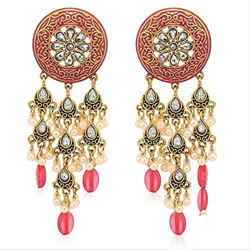 Estilo Étnico Largo Oro Color Colgante Pendientes Borlas Rhinetone Joyería Vintage Pendientes Bijoux Para Las Mujeres