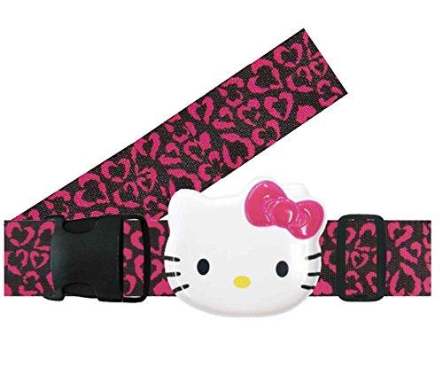 ハロー キティ 目立つ デカ顔 が かわいい 旅行用 トラベル スーツケースベルト ハート ヒョウ ブラック