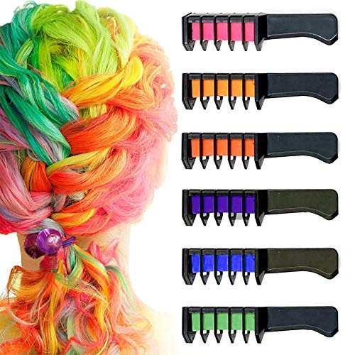 Hair Chalk Comb, Bagvhandbagro 6 Colors Temporary Hair Chalk For Girls Gift, Non-Toxic Disposable Hair Color Dye Comb for Kids Girls Boys Christmas Birthday Party Halloween Costume Cosplay