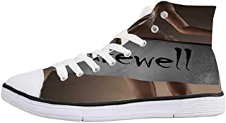 Going Away Party Decorations Stylish High Top Canvas Shoes,Retro Airplane Poster Inspired Bon Voyage Lets Travel Fly for Men & Boys,US 6.5