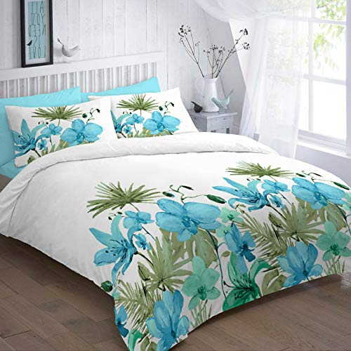 EGYPTO Cotton Polyester Lily Floral Printed Duvet Cover Set - Soft Bedding Set with White Pillow Case (Double: 1 x Duvet Set Size: 200 x 200cm Approx 2 x Pillow Cases Size: 50 x 75cm Approx, Teal)