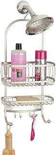 mDesign étagère de douche en à suspendre – panier de douche pratique avec ventouses et porte-savon pour shampooing, rasoir...