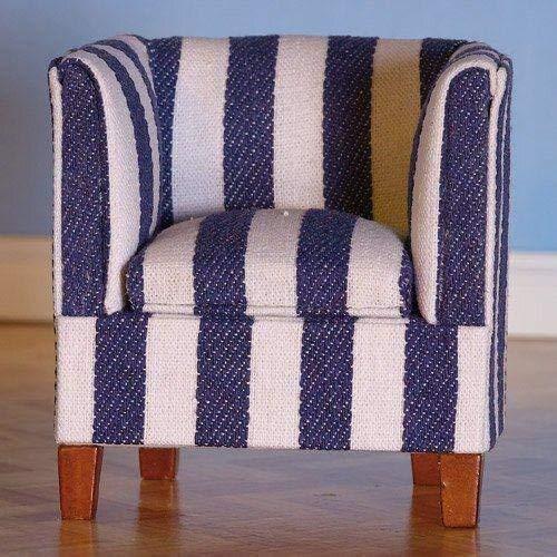 Dolls House Sessel blau/weiß für Puppenhaus 2496