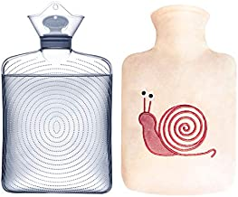 Samply Transparent Hot Water Bottle- 2 Liter Water Bag with Cute Fleece Cover, Pink Snails