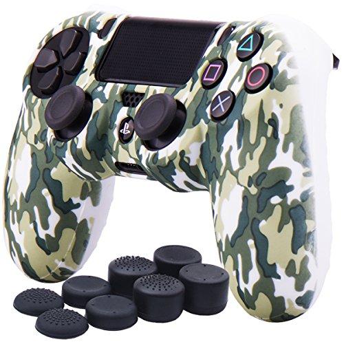 YoRHa Wasser Transfer Druck Tarnung Silikon Hülle Abdeckungs Haut Kasten für Sony PS4/slim/Pro Controller x 1 (Weiß) Mit Pro aufsätze Thumb Grips x 8