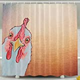 HUANGLING Angry Chicken Shower Curtain 60x72inch