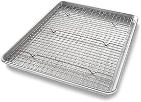 USA Pan Half Sheet Baking Pan and Bakeable Nonstick Cooling Rack, Metal