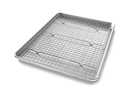 Classic half sheet pan and cooling rack for baking cookies and cakes or roasting vegetables; both are oven safe up to 450 degrees Fahrenheit Baking pans feature unique corrugated surface; facilitates air flow for quick release and evenly baked goods;...